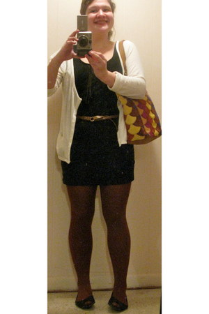 black dress - cream sweater - rust HUE tights - lucky bag - copper H & M belt -