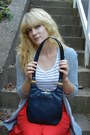 Navy-leather-vintage-bag-red-button-down-vintage-skirt