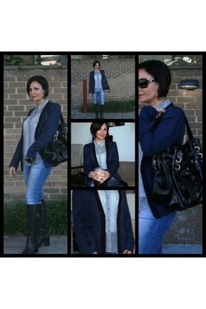 Zara blazer - aigner boots - Zara jeans - Zara shirt - Jimmy Choo bag