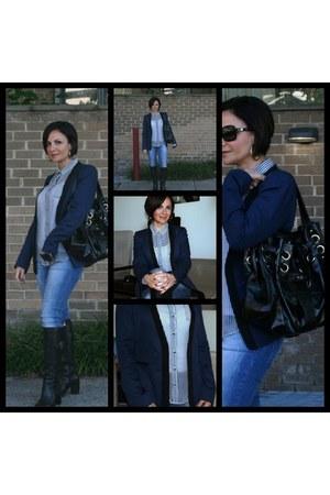 Zara blazer - aigner boots - Zara jeans - Zara shirt - Jimmy Choo bag