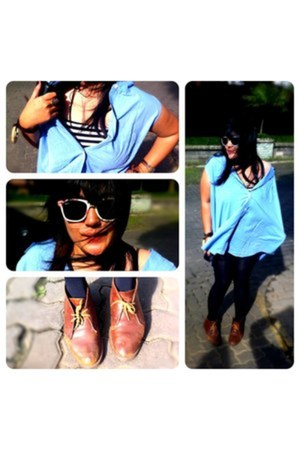 brown Dr Martens boots - sky blue H&M shirt - black Zara tights