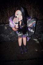 deep purple Dr Martens boots - deep purple Heloo Moonbeam DIY dress - parfume  B