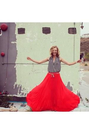 red maxi Bebe skirt