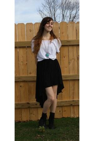 Forever 21 skirt - Charlotte Russe boots - Wet Seal shirt