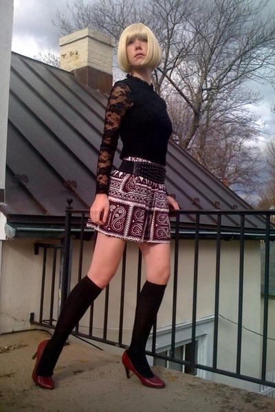 black Forever21 top - black Forever21 belt - red Forever21 skirt - black Walmart