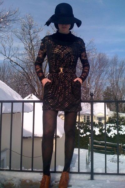 black Forever21 shirt - black Forever21 dress - black payless tights - brown For