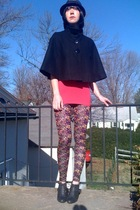 black Forever21 coat - pink H&M top - black Forever21 leggings - silver Forever2