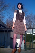 brown Mango dress - brown Walmart vest - white Forever21 blouse - purple Forever