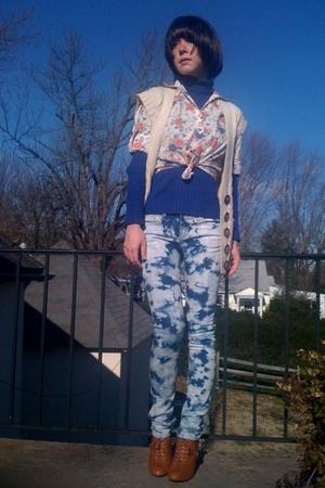 blue Walmart top - beige Forever21 blouse - beige Forever21 vest - blue Forever2