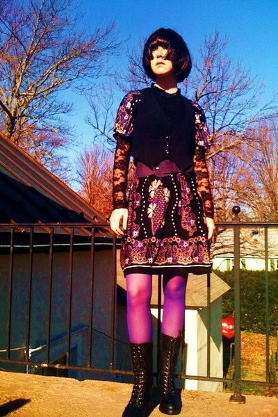 black Forever21 blouse - purple Mango dress - black Target vest - purple Forever