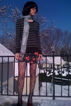 green H&M sweater - red Walmart shoes - gray Forever21 tights - blue H&M scarf