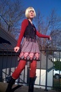 Red-h-m-sweater-black-forever21-top-black-walmart-vest-red-mango-jeans-b