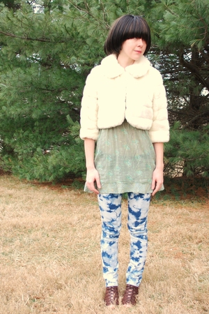 green floral sheer Forever21 blouse - brown roman peeptoe GoJane boots