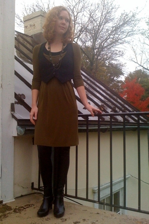 H&M dress - payless necklace - Target vest - Target leggings - payless boots