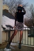 black Forever21 top - silver Forever21 hat - silver Forever21 skirt - black Fore
