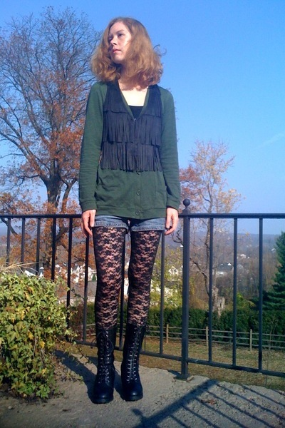 black Forever21 leggings - black Forever21 boots - black Walmart vest - green Wa