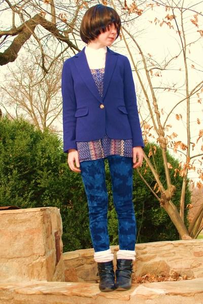 blue Forever21 blazer - blue Forever21 top - white Forever21 blouse - blue Forev