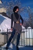 gray Forever21 vest - blue Forever21 jeans - black Forever21 belt - gray GoJane