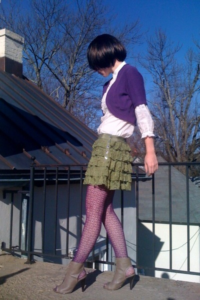 white Forever21 blouse - purple Old Navy cardigan - green Forever21 skirt - purp