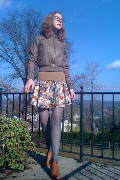 brown Forever21 jacket - beige H&M sweater - beige Forever21 skirt - gray Walmar