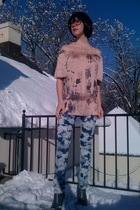 pink Forever21 shirt - blue Forever21 jeans - gray GoJane boots
