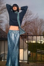 blue vintage sweater - blue vintage skirt - black Forever21 boots - blue Walmart
