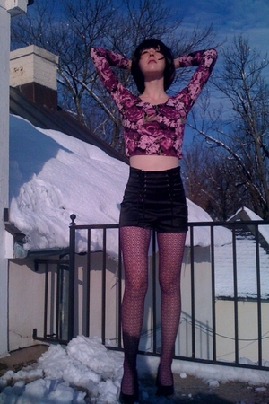 purple Forever21 sweater - black Forever21 shorts - purple Forever21 tights - bl