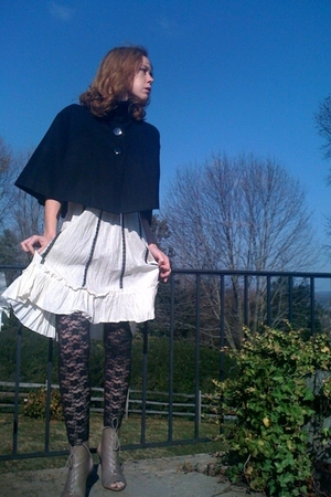 black Forever21 coat - white vintage dress - black Forever21 leggings - beige Fo