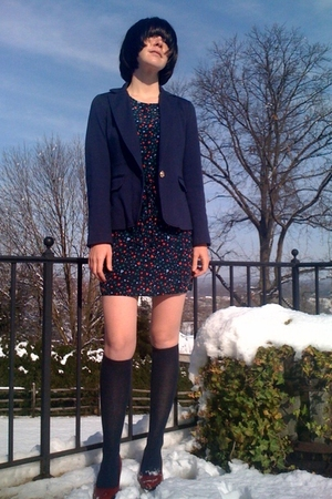 blue Forever21 blazer - blue Forever21 dress - blue Walmart socks - red Walmart