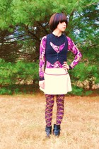 purple floral Forever21 leggings - black button slouchy GoJane boots