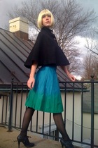 black Forever21 coat - green H&M skirt - black Walmart tights - black Forever21