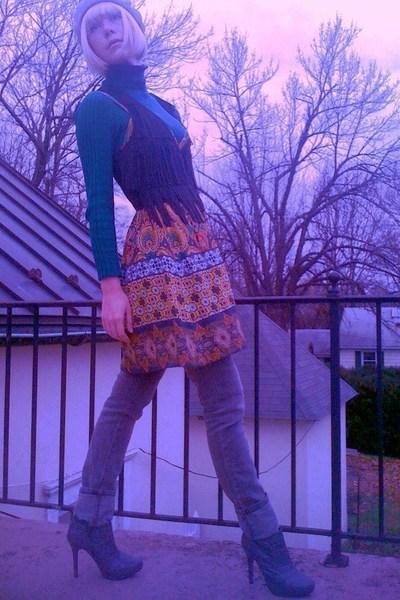 green Walmart top - orange Forever21 dress - gray Target jeans - gray GoJane boo