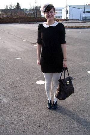 black asos dress - cream GINA TRICOT tights - dark brown Mulberry bag - navy gar