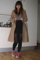 beige viktor & rolf for h&m coat - white H&M top - black H&M skirt - silver Laco