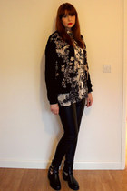 floral print Topshop shirt - cut out Boohoo boots - embroidered Topshop jacket