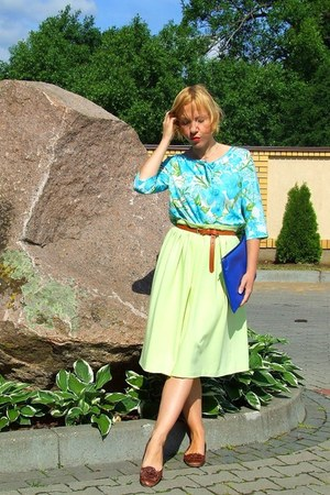 blue handmade bag - lime green handmade skirt - aquamarine blouse - H&M belt