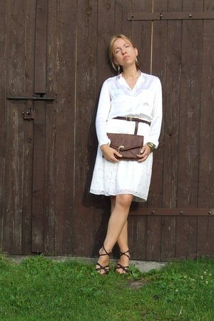 H&M bag - handmade shirt - H&M earrings - lace handmade skirt