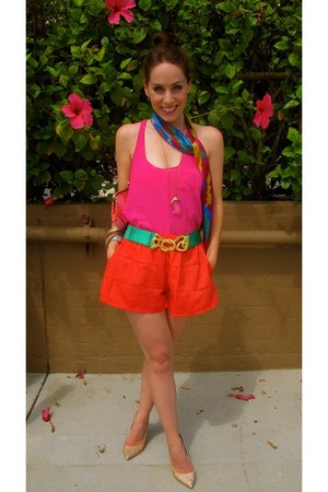 H by Halston shoes - Forever21 shirt - thrifted vintage scarf - H&M shorts - thr