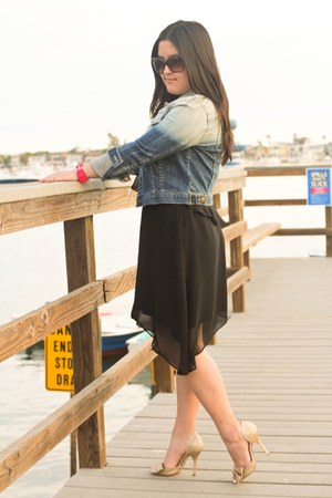 black BCBG dress - navy denim dip dyed Forever 21 jacket