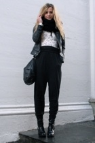 black harem pants - black biker boots boots - black leather jacket
