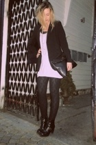 black mens cut blazer - black biker boots boots - dress - black bag - black top