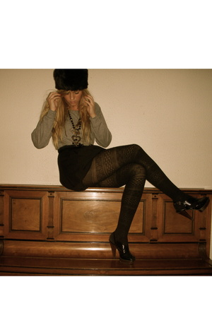 BikBok sweater - hat - Mango shoes - Vinatge skirt - necklace - tights