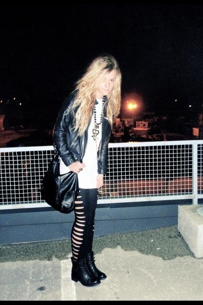 gold necklace - black boots - black leather jacket - black diy leggings