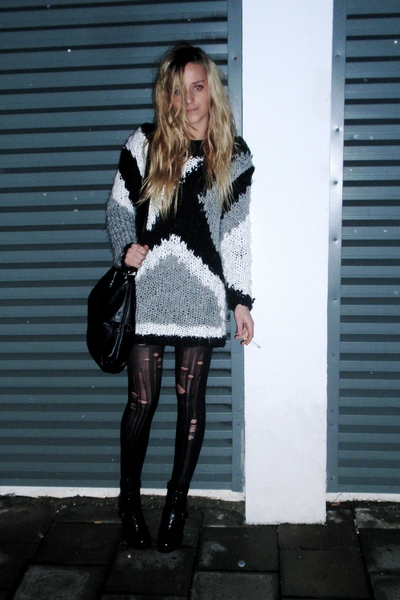 tights - sweater - purse - boots