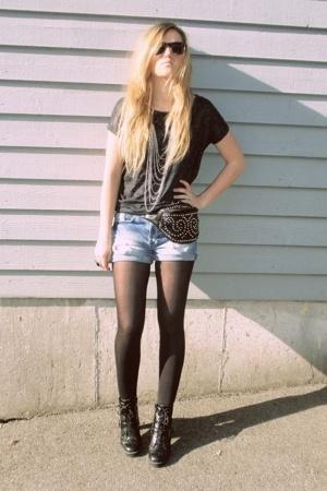 black studded bag - black boots - blue ripped denim shorts - black sunglasses