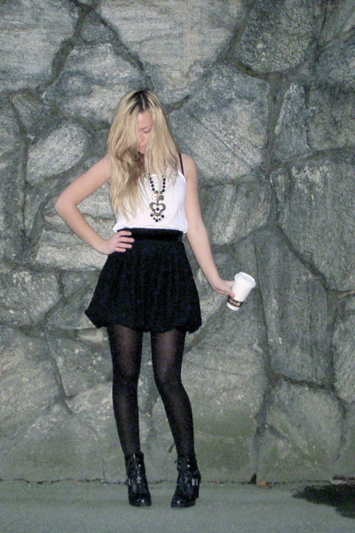 shoes - tights - skirt - top - necklace