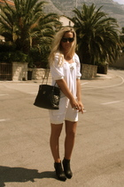 dress - boots - purse - sunglasses - necklace -