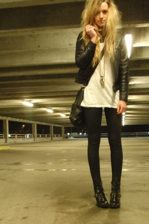 black leather jacket - black biker boots boots - black pvc leggings - black bag