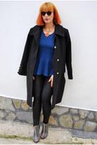 black oversized Bellino coat - black round asos sunglasses