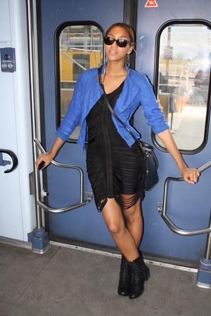black slashed asos dress - black New Yorker boots - blue Zara jacket